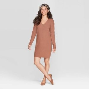 NWT A New Day Women's Sweater Dress Large L Brown